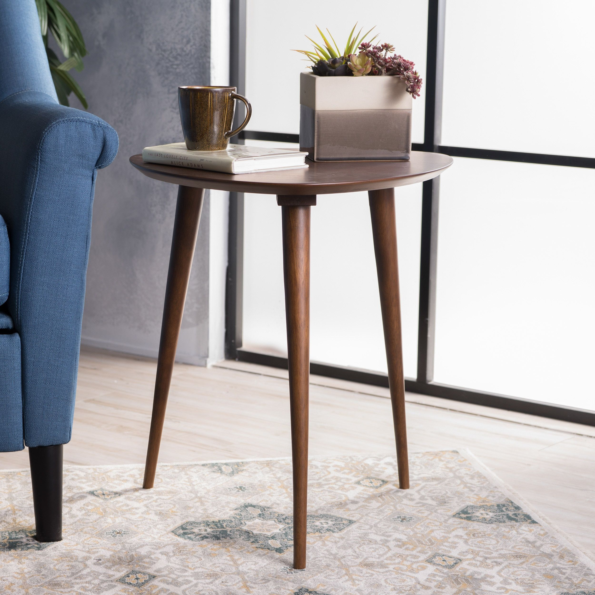 Naja midcentury wood end table by christopher knight home by