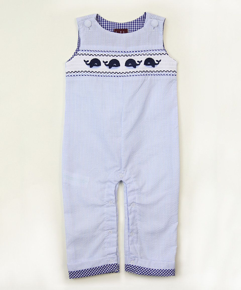 Look what I found on #zulily! Blue Smocked Whale Overalls - Infant & Toddler by Lil Cactus #zulilyfinds