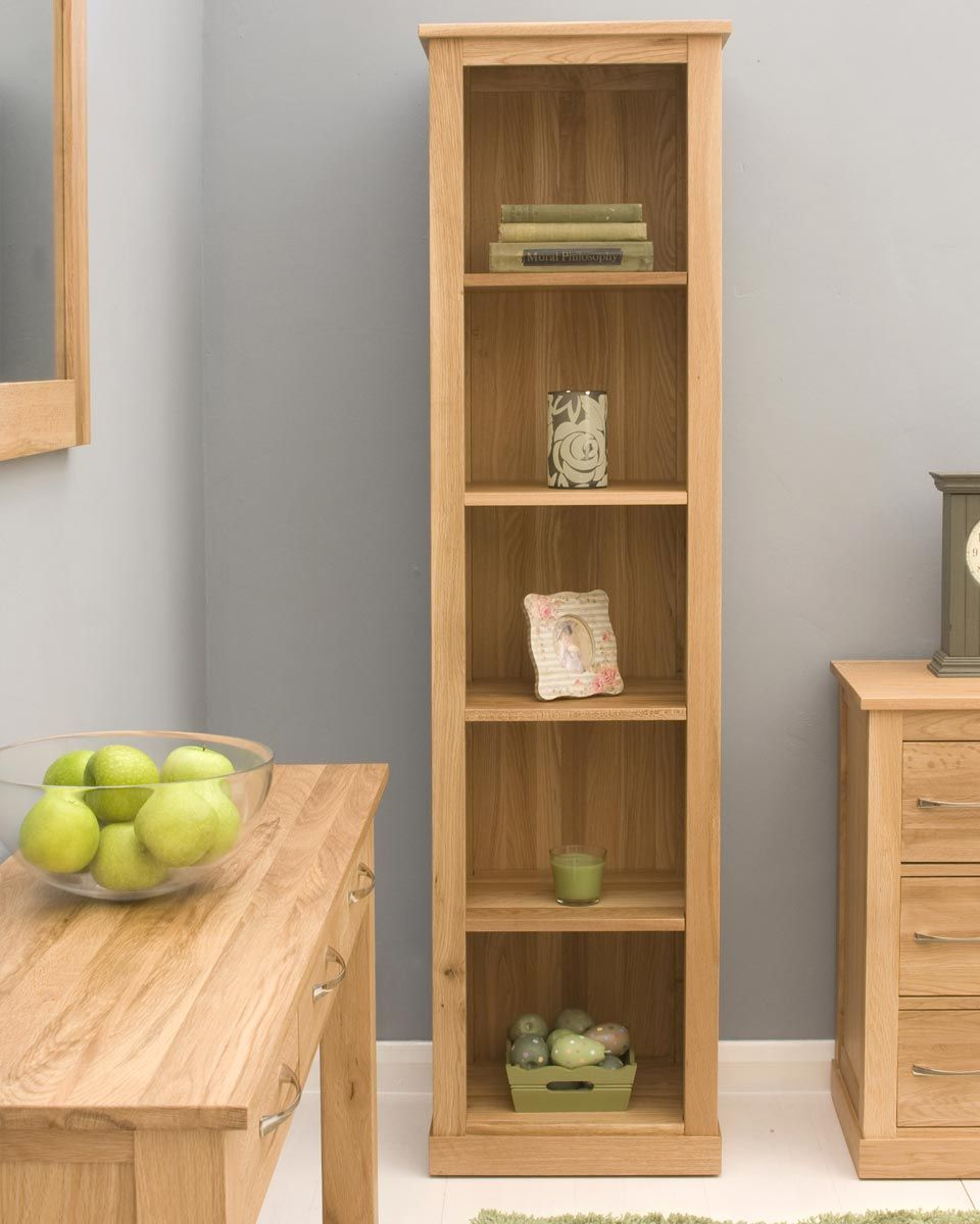 Narrow Solid Oak Bookcase Hampshire Furniture Pequena