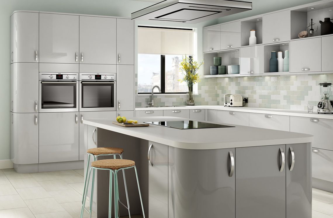 Parma high gloss light grey kitchen designer range for Kitchen units grey gloss
