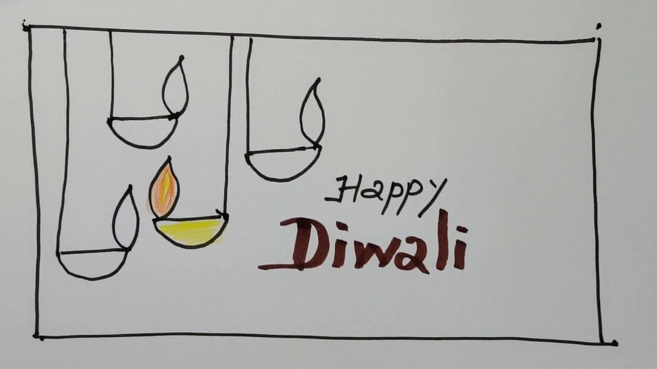 How to draw a Happy Diwali card (to a friend)   இனிய தீபாவளி வாழ்த்துக்கள்