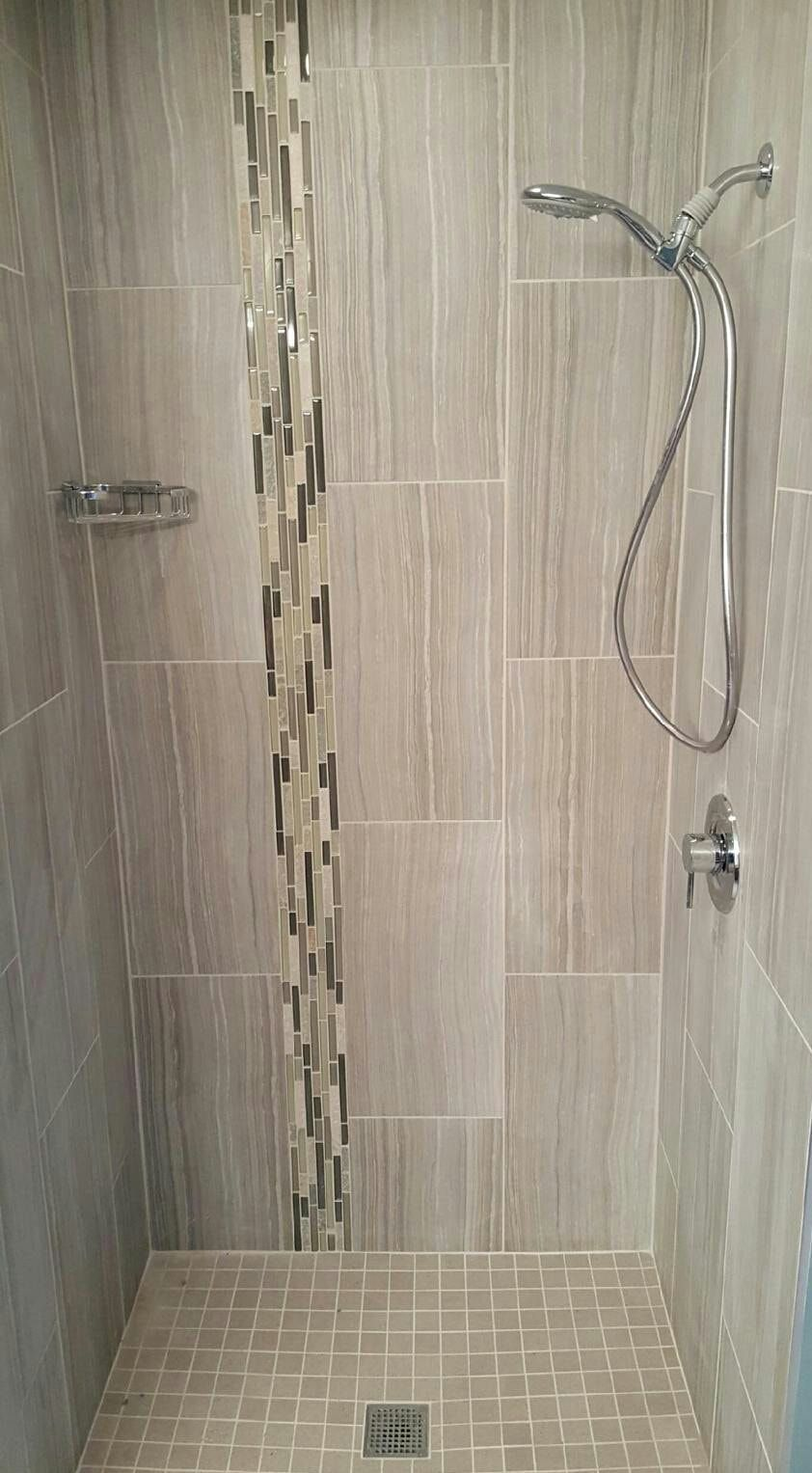 Vertical Accent Strip In The Shower Shower Remodel Shower Remodel Diy Small Shower Remodel