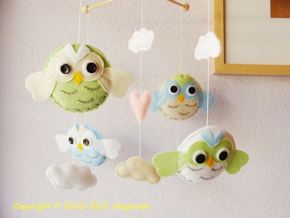 Baby Mobile Gray White Owls And Bird In Starry Night