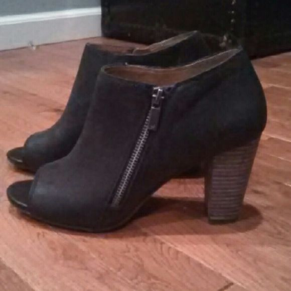 Lucky Brand Pabla Peep Toe Booties Hard to find, black Lucky open toe booties, brand new, worn once. Super cute! Lucky Brand Shoes Ankle Boots & Booties