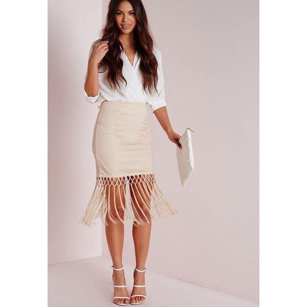 Missguided Fishnet Tassel Detail Mini Skirt ($17) ❤ liked on Polyvore featuring skirts, mini skirts, nude, short fringe skirt, circular skirt, pink skirt, pink midi skirt и short skirts