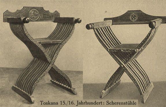 Krzesło Savonaroli/nożycowe - min 4 szczebelki w nogach