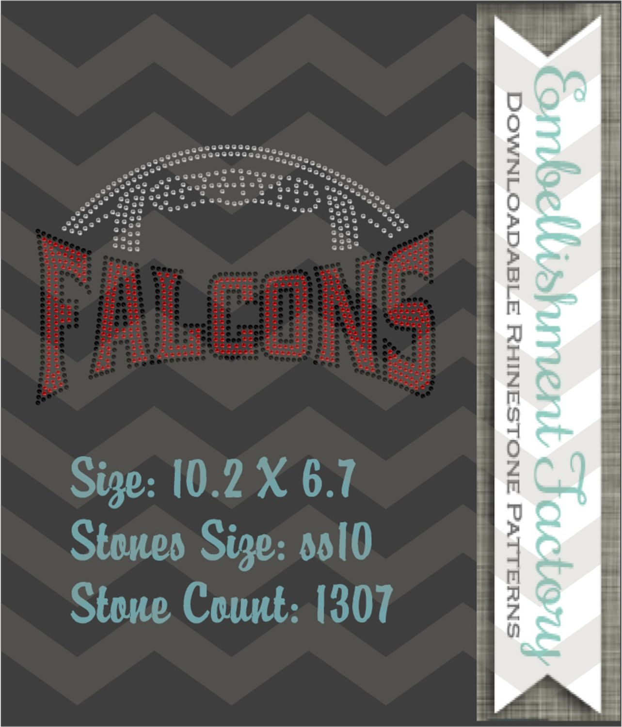 Instant Downloadable Rhinestone pattern-Falcons Football- DIY 15 ...