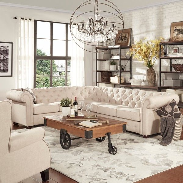 Tribecca Home Knightsbridge Tufted Scroll Arm Chesterfield 6 Seat L Shaped Sectional Rustic Farmhouse Living Room Farm House Living Room Rustic Living Room