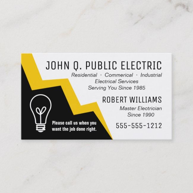 Light Bulb Lightning Bolt Electrician Electrical Business Card Zazzle Com Electricity Electrician Photography Business Cards Template