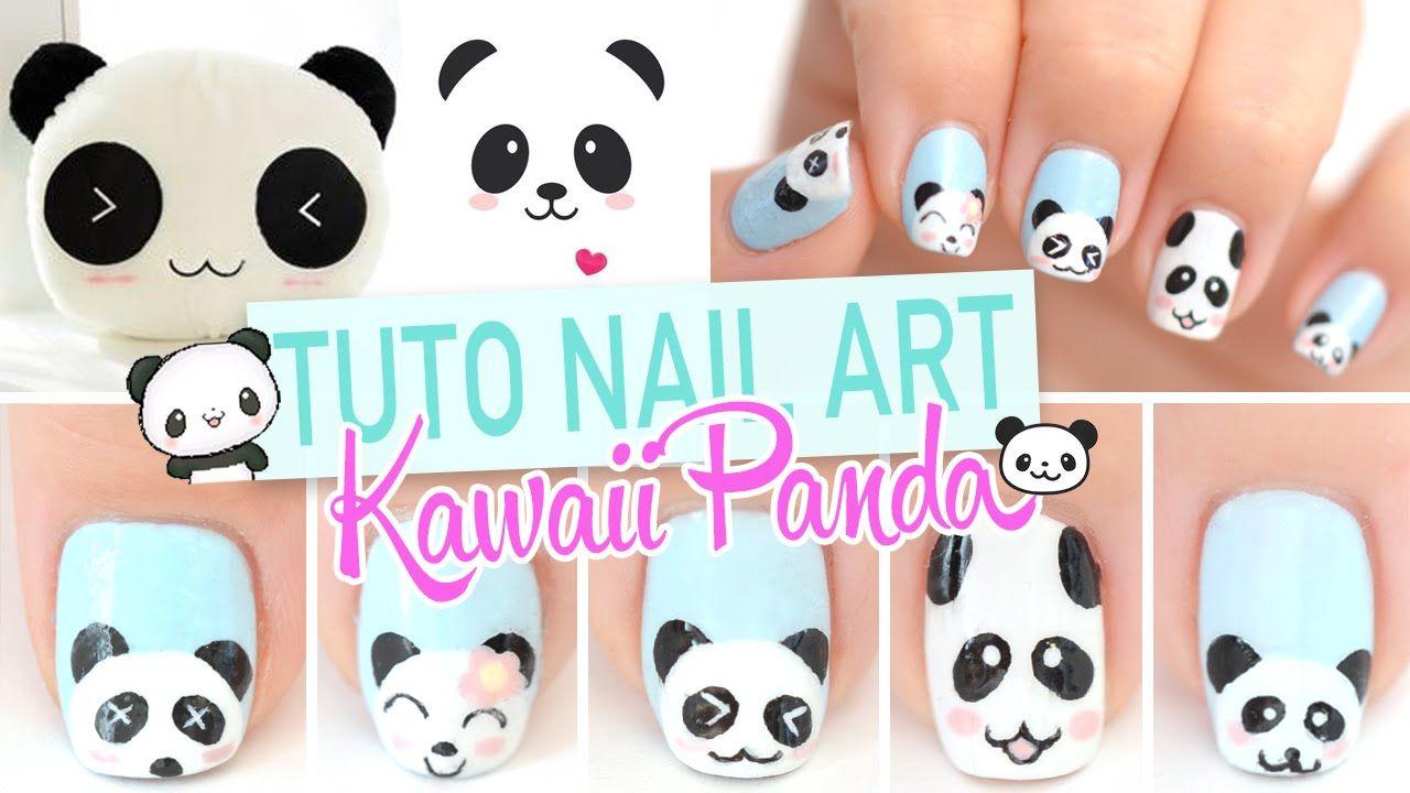 Nail art ♡ Kawaii Panda   Uñitas   Pinterest   Panda, Kawaii nail ...