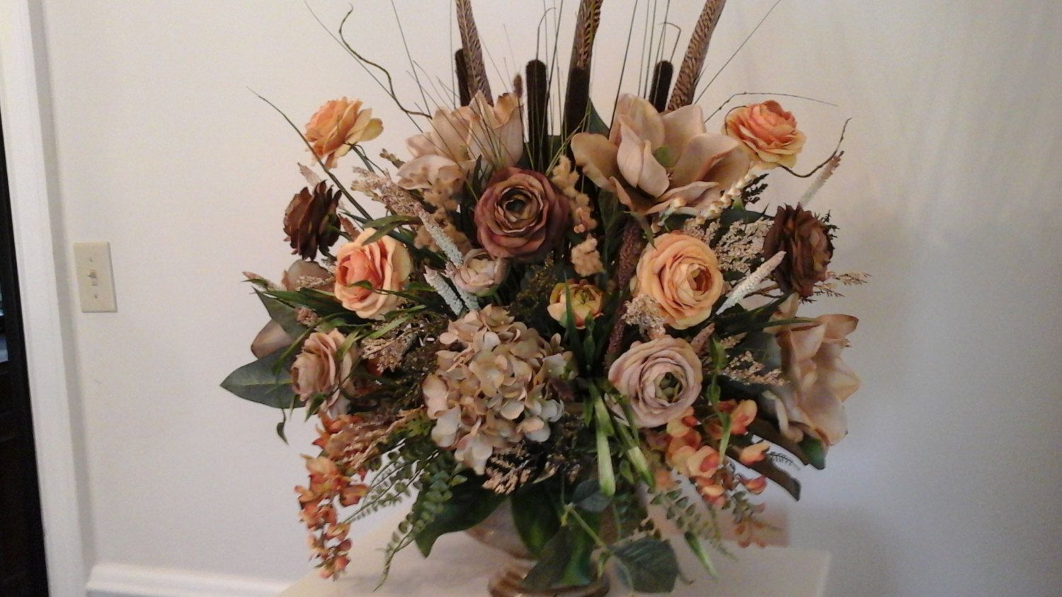 Floral Arrangement Large Magnolia Centerpiece SHIPPING INCLUDED Silk Any Season Table