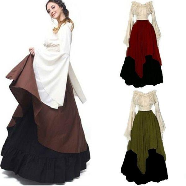Vintage Style Women Medieval Dress Cosplay Costume Princess Off Shoulder Dress