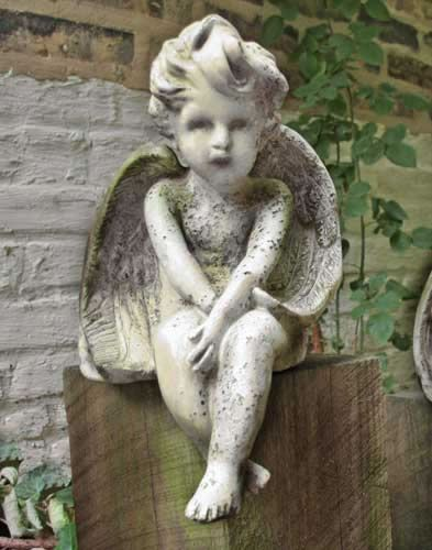 Cherub Outdoor Religious Garden Statue Statuary Made Of Faux  Concrete/Stone. Available In Ten