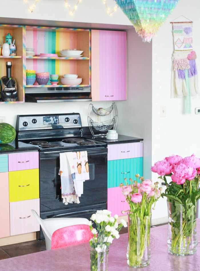 Washi Tape Cabinets Rental Idea Interior Rainbow Kitchen Home