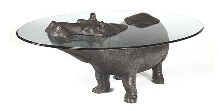 Animal Emerging out of Glass Top Coffee Table Coffee table