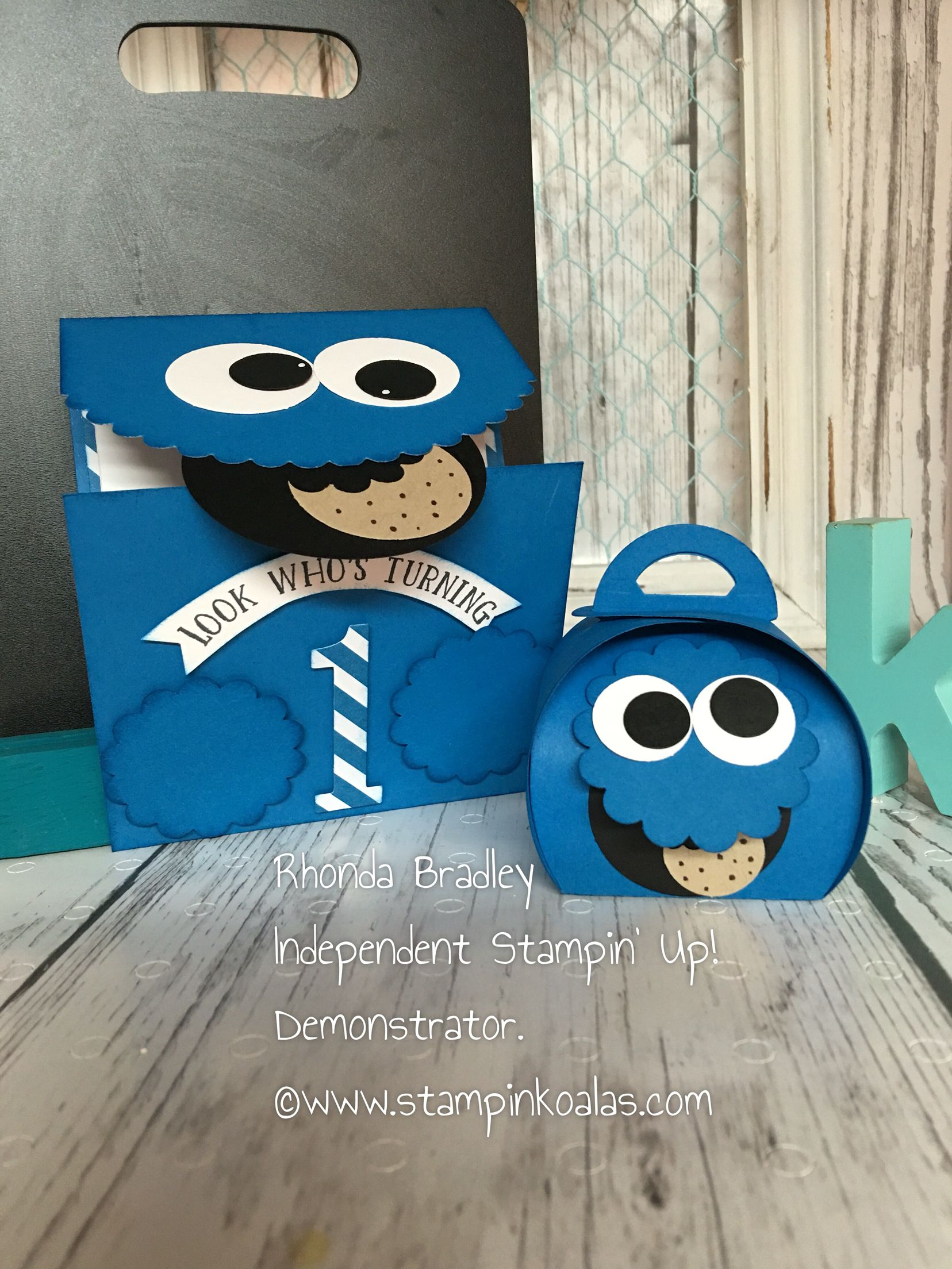 Stampin Up Cookie Monster Invitation and curvy Keepsake treat box