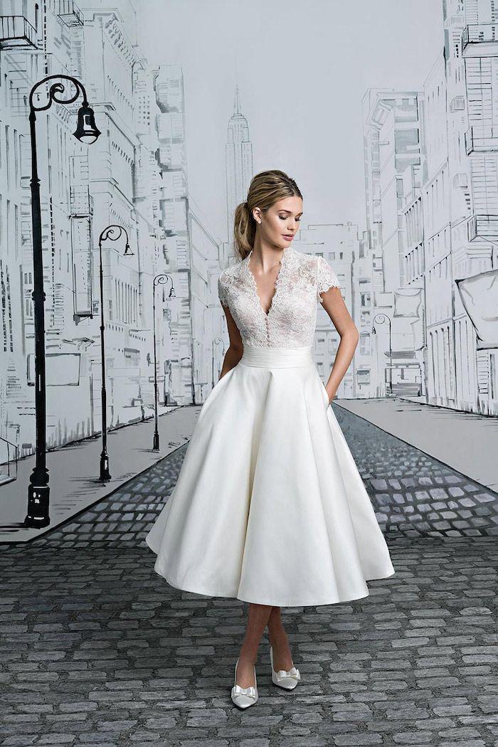 kurzes vintage hochzeitskleid aus satin und spitze, brautkleid im ...