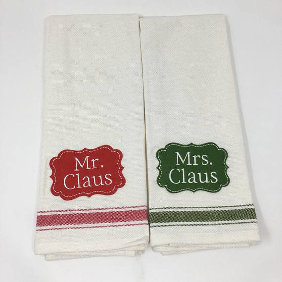 Mr And Mrs Claus Embroidered Christmas Kitchen Towel Set Red