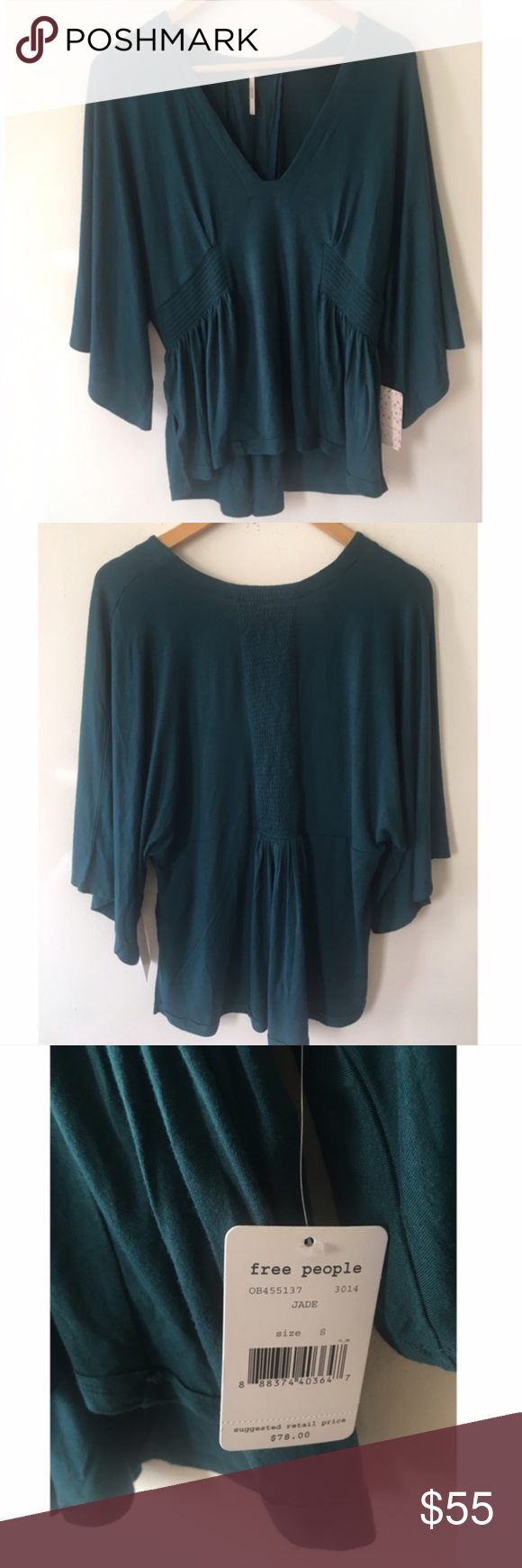 Free People high low top Free People beautiful high low top with dolman   3/4 sleeve in the color Jade. NWT Free People Tops Blouses