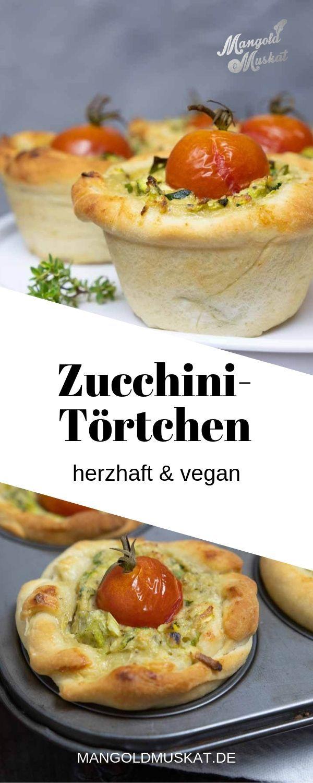 Herzhafte, vegane Zucchini-Törtchen