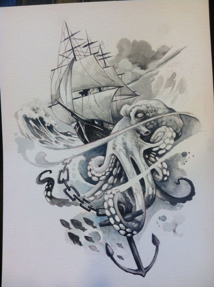 Octopus Shipwreck Drawing Clipper ship an...