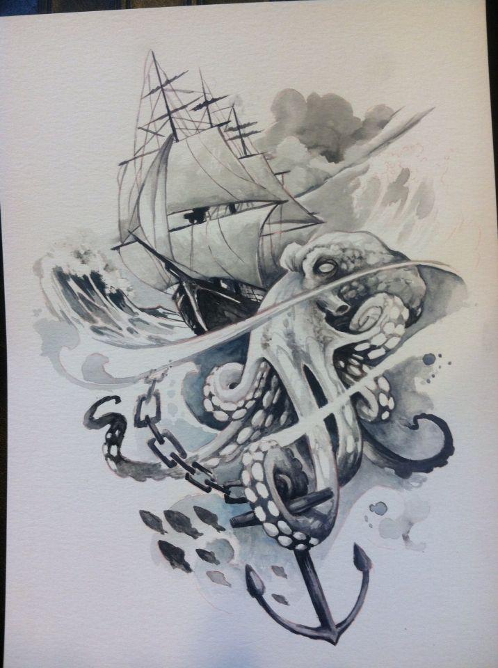 Clipper Ship And Octopus Watercolor Octopus Tattoo Design Ship Tattoo Kraken Tattoo