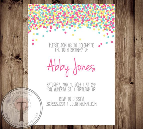 Confetti Birthday Invitation Bright Invite Girls Tween