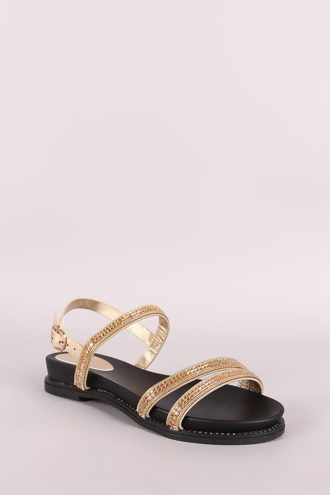 1e7a30ea8b0504 Bamboo Rhinestone Embellished Triple Band Slingback Flat Sandal ...