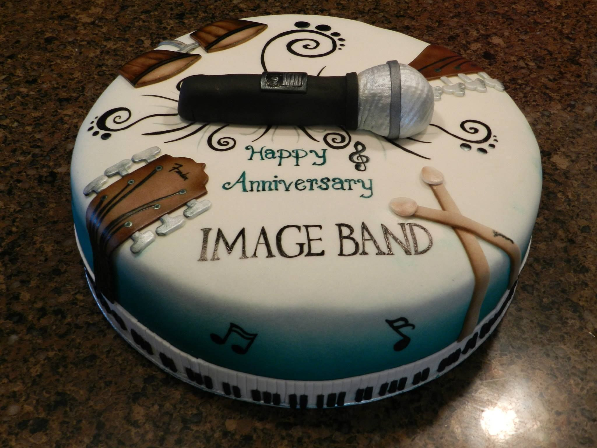 Hand made instruments made out of fondant. Microphone made ...