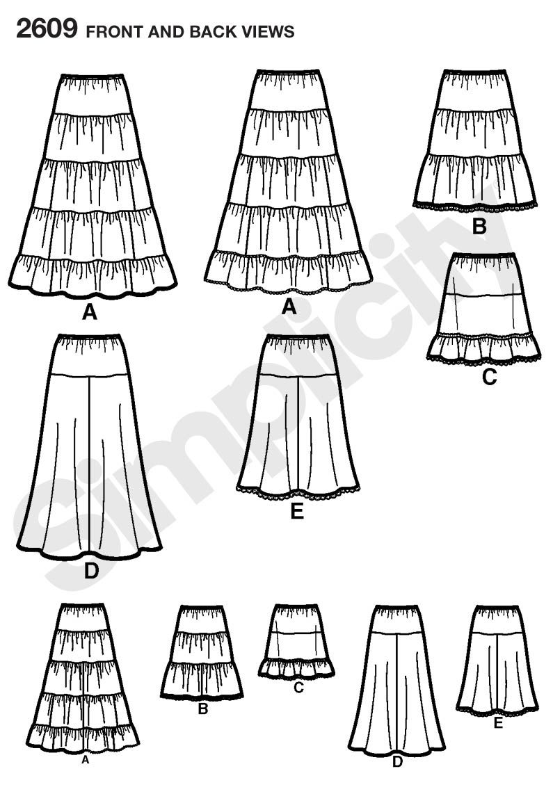 Womens Tiered and Flared Skirt Sewing Pattern 2609 Simplicity ...