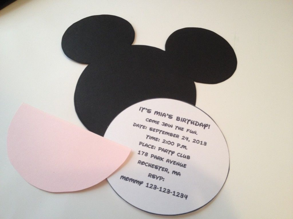 DIY Minnie Mouse Invitation With Real Bow + Free Minnie Ears ...