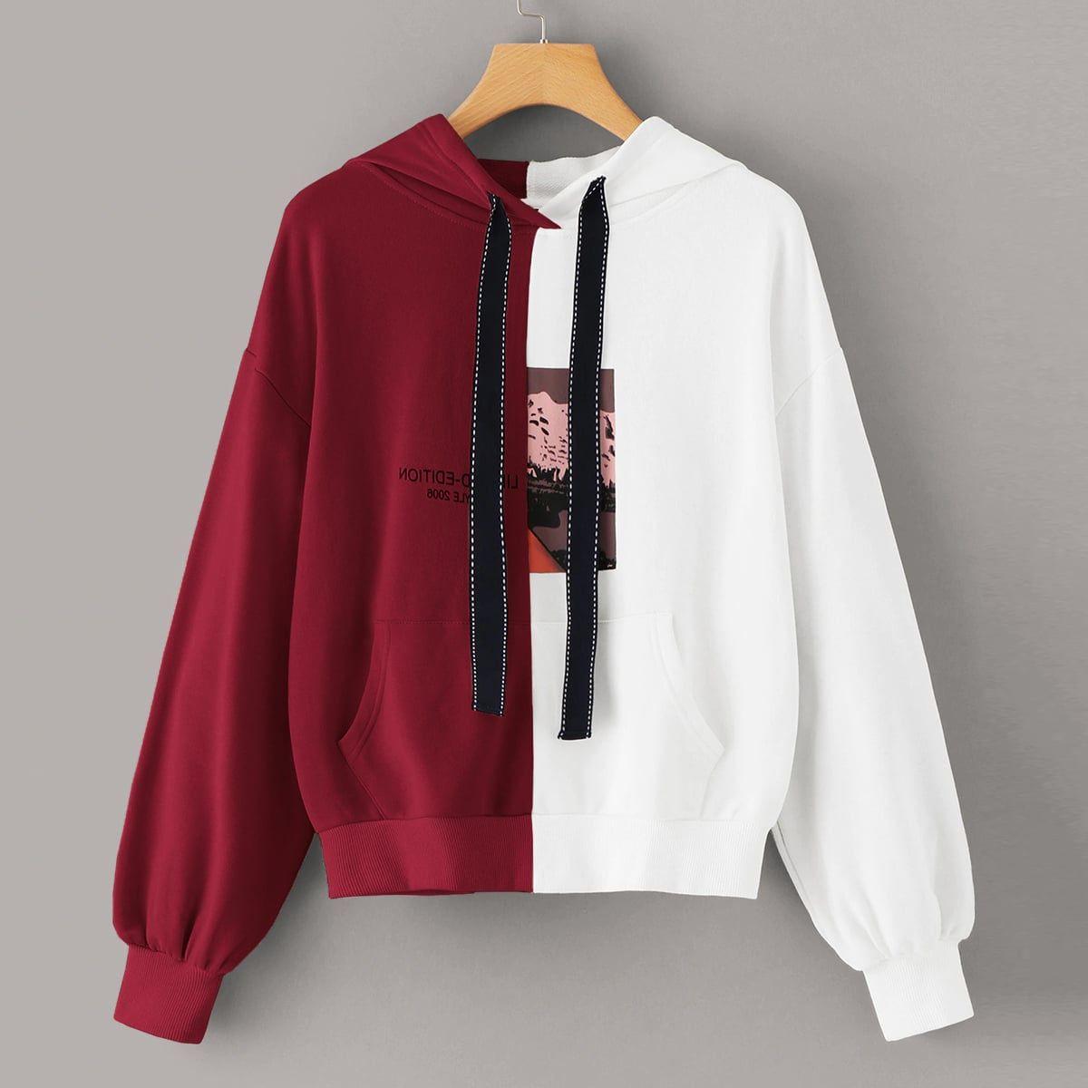 Sweatshirt mit Streifen auf den Seiten und Buchstaben Muster