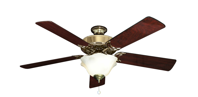 Dixie Belle Bright Brass Ceiling Fan With 52 Cherrywood Gloss