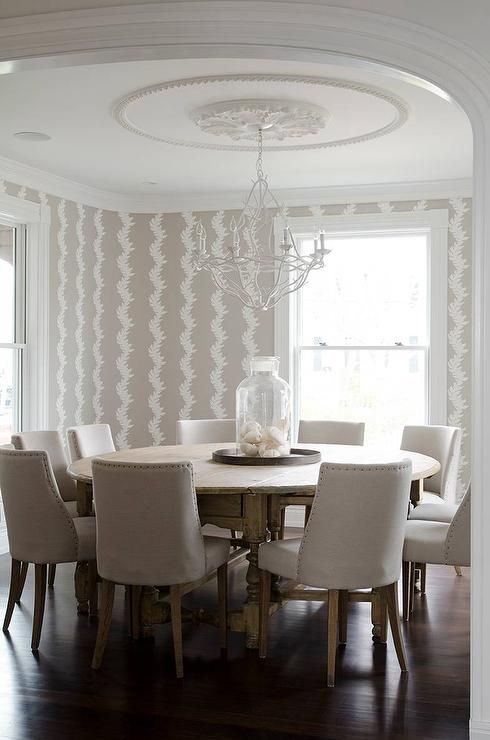 Beige Dining Room With Round Dining Table Seats 10 Contemporary