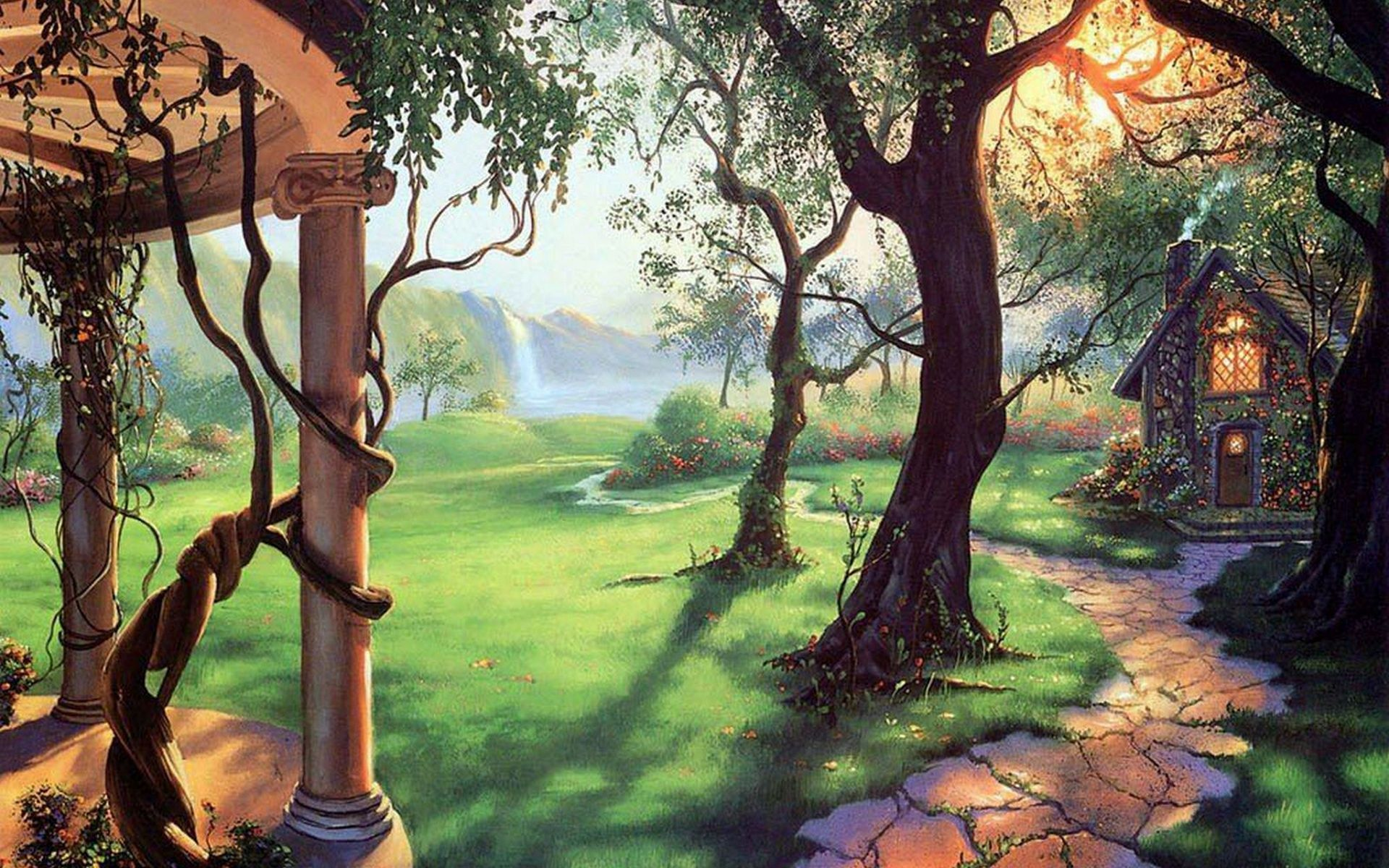 Image gallery magical fairy forest wallpaper for Fairy forest mural