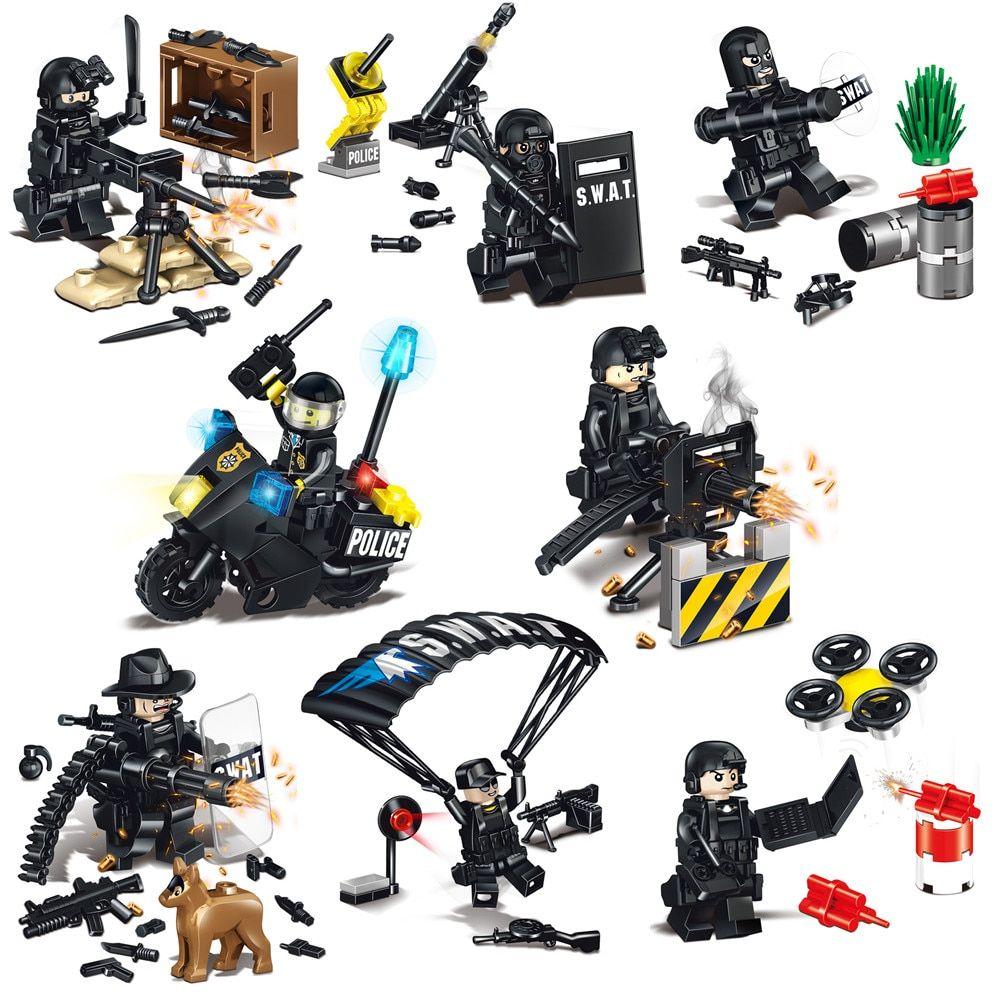 8pcs//set Boys Motorcycles Weapon Accessories Building Blocks Bricks Model Toys