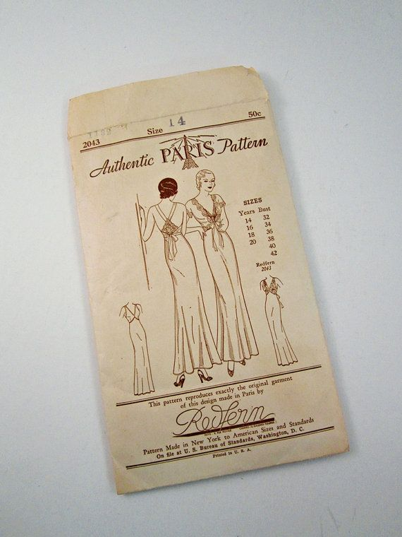 Incredibly scarce 1920s Authentic Paris Pattern - sleeveless nightgown & jacket