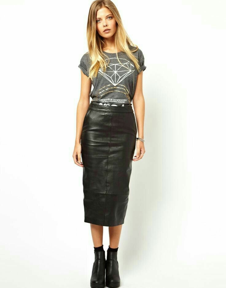Long leather pencil skirt ankle boots socks