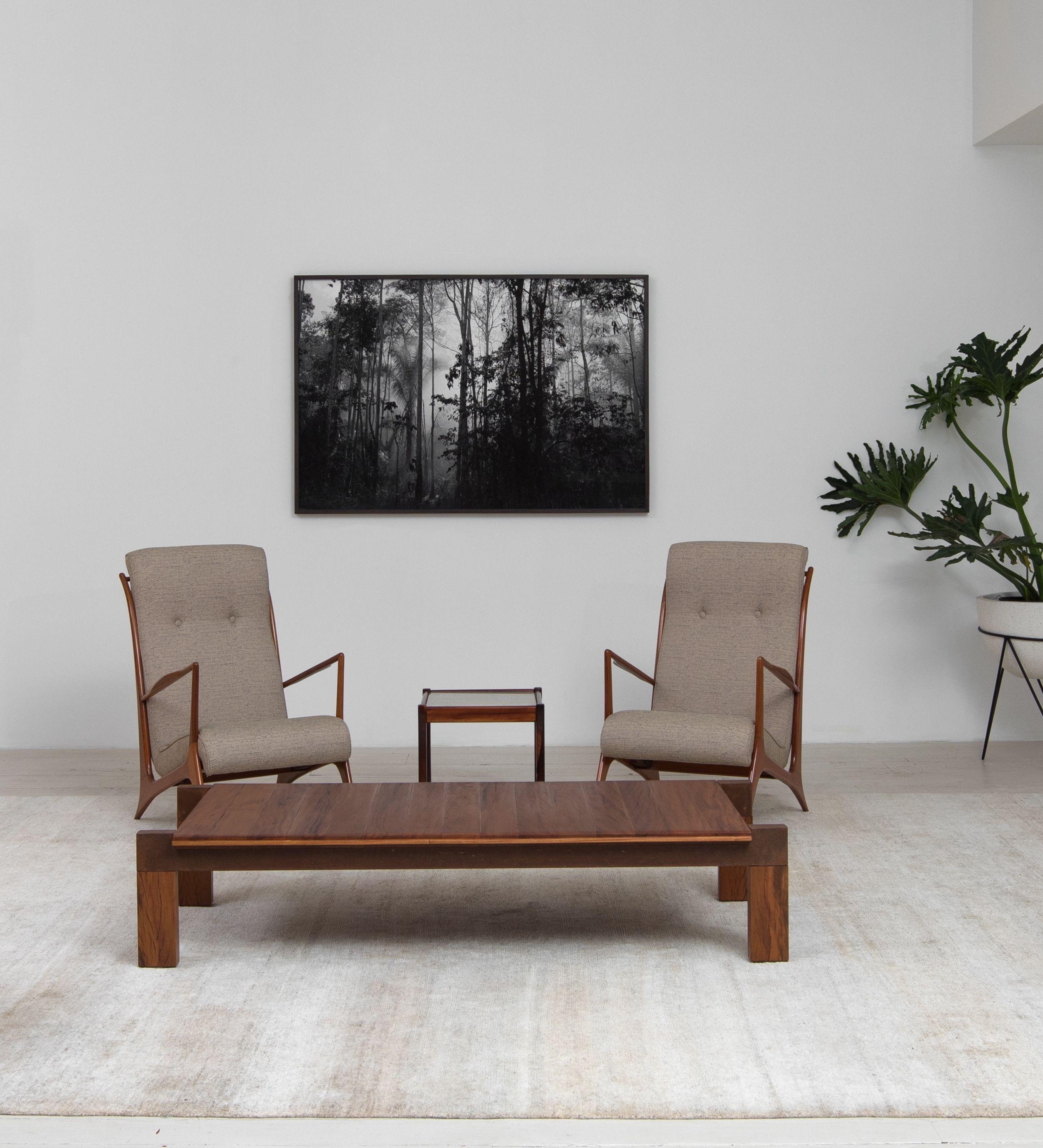 Vintage John Graz armchairs and CJ1 coffee table by Carlos