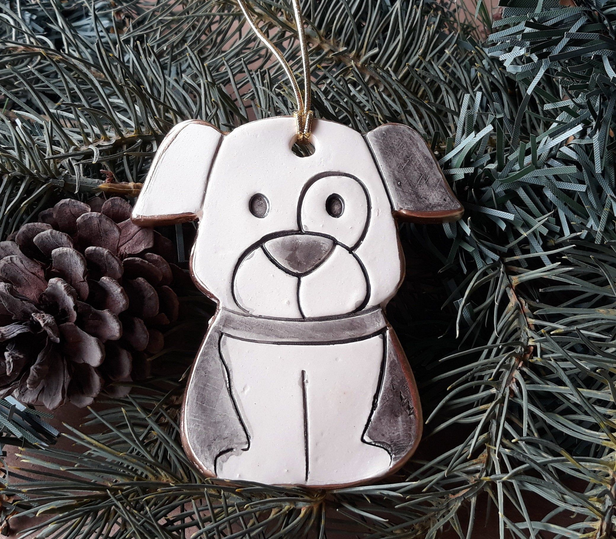 Ceramic Puppy Dog Christmas Ornament Wholesale available
