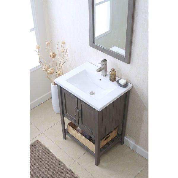 Photo Of Legion Furniture Silver Grey Single Sink vanity with Matching Mirror Basket and UPC Faucet