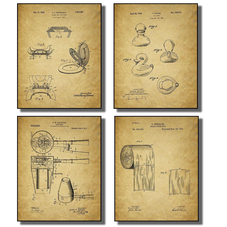 Amazon.com: Bathroom Patent Wall Art Prints - Set of Four Photos ...