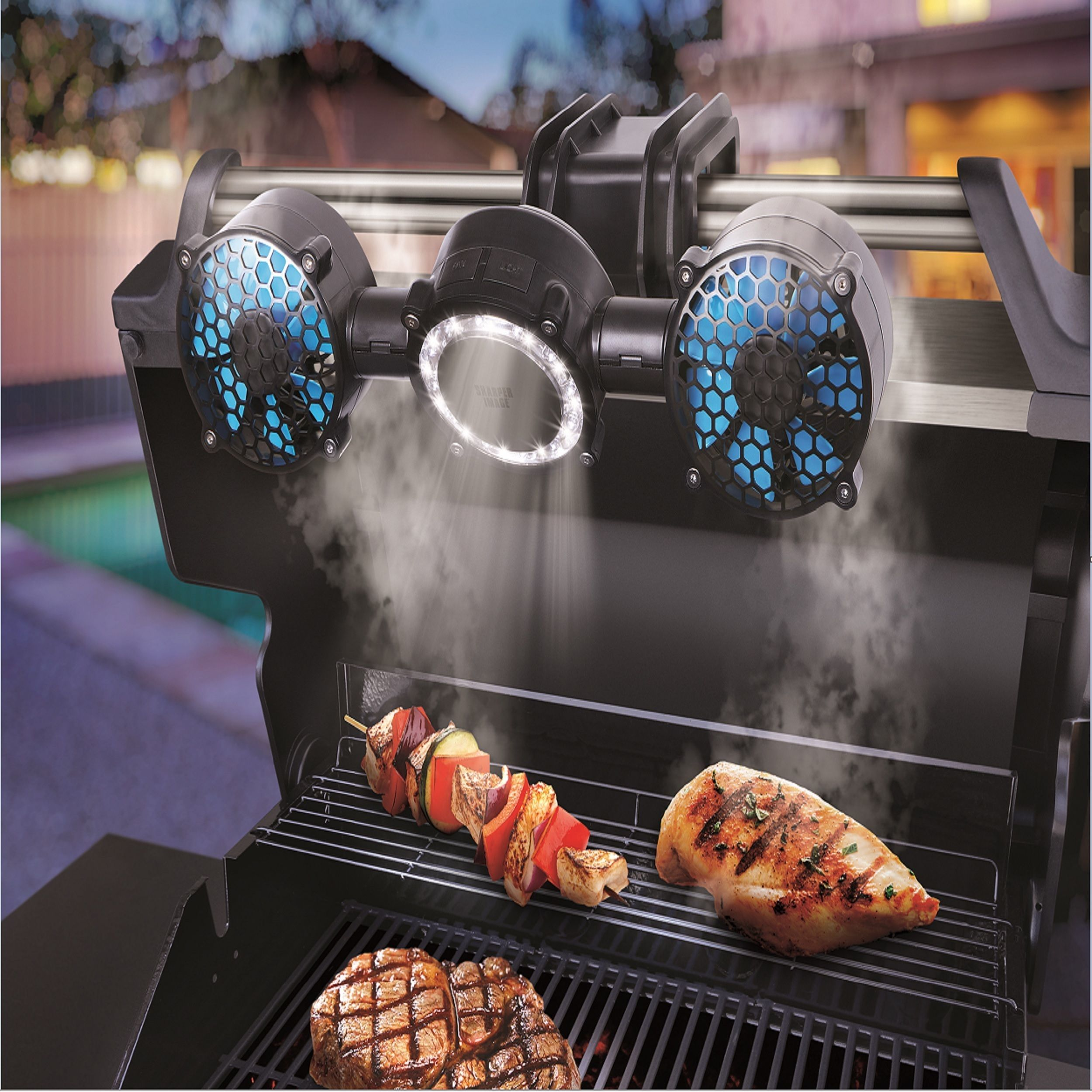 Sharper image 12 led barbecue grill light fan barbecue grill grilling aloadofball Image collections