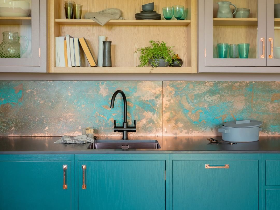 - Copper Splashback, Bright Colours And Copper Hardware All Combine