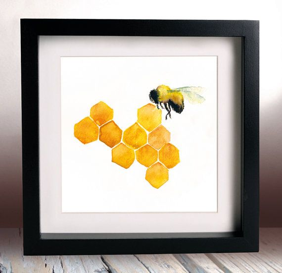 Honey Bee Watercolour Painting Print 6x6 Inches Kitchen Art Cafe Decor  Honeycomb