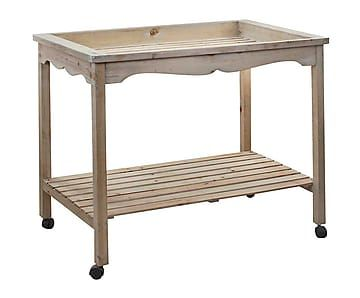 Mesa auxiliar de madera de pino con ruedas Display - blanco