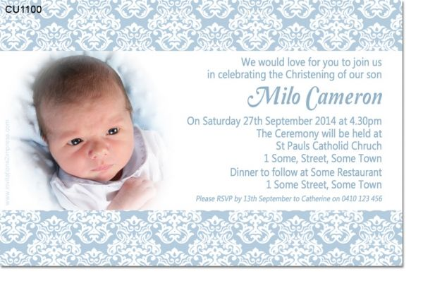 wwwinvitations2impress CU1100 - Damask Boys Christening - sample baptismal invitation for twins