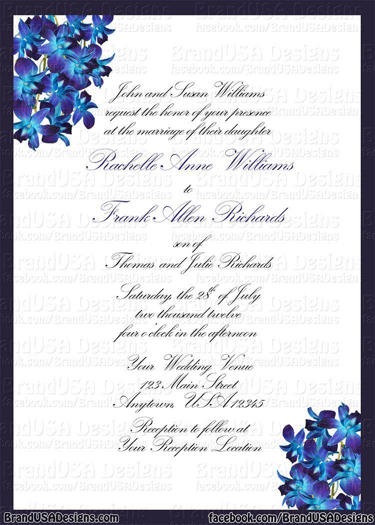 Blue Orchid Wedding Invitations Blue Orchid Wedding Blue