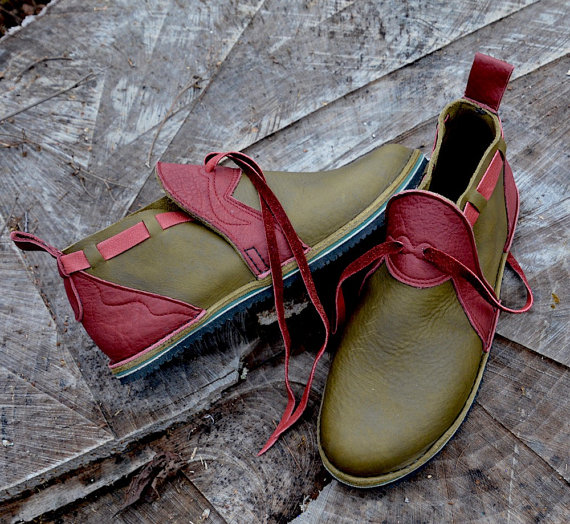 2fad165910113 Leather Custom Handmade Shoes - olive green waxed cow with redwood ...