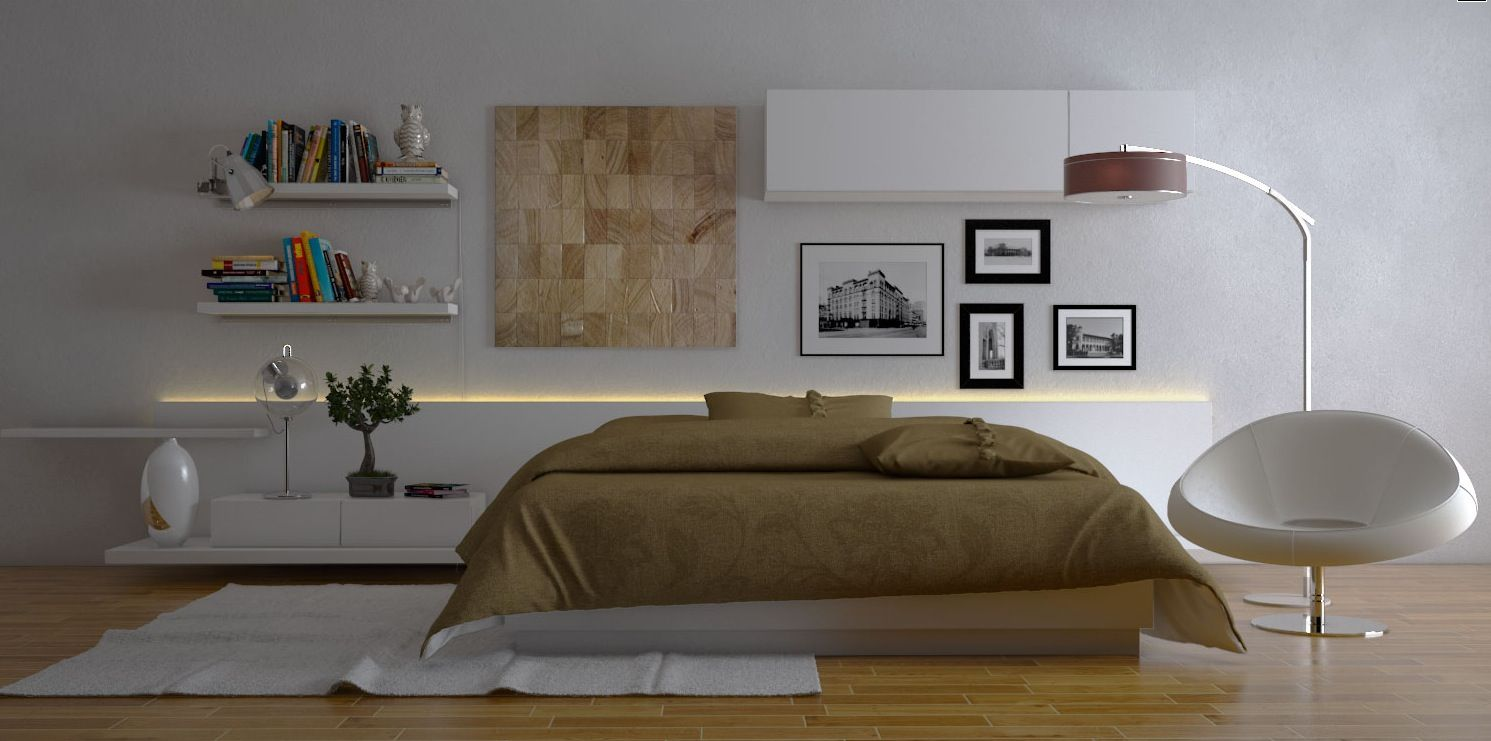 The Stunning Contemporary White Brown Bedroom Interior Design ...